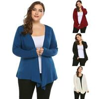 Women Casual Plus Size Long Sleeve Open Front Solid Cardigan RCAI
