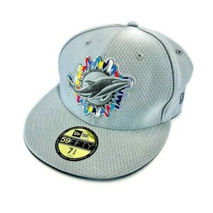 Miami Dolphins New Era Mens 59Fifty Baseball Cap Gray Waterproof Fitted 7 3/4