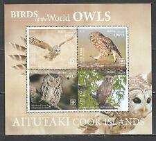 NW0405 2019 !!! SALE AITUTAKI FAUNA BIRDS OWLS MICHEL 95 EURO BL119 MNH