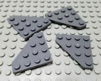 New LEGO Lot of 4 Dark Bluish Gray 4x4 Flat Cut Corner Plate Pieces