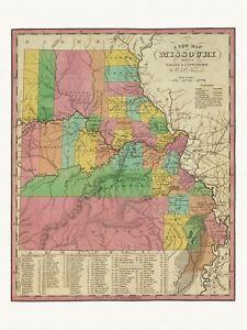Old Antique Decorative Map of Missouri Tanner ca. 1836