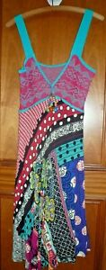 SAVE THE QUEEN quirky floaty multi coiour mixed print mid long sun dress L BNWOT