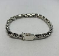 "925 Sterling Silver Genuine 7mm x 8"" Bali Rope Chain Bracelet Genuine Indonesia"