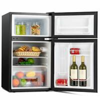2-Door Compact  Mini FridgeTop Freezer Refrigerator w/ Fruit Box 3.2 Cu Ft Black