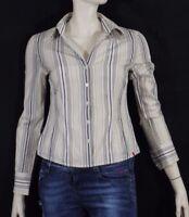 ESPRIT Taille M 38 Superbe chemise manches longues rayures beiges grises