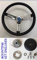 """1960-1969 Chevrolet Truck C10 K10 Black Chrome Steering Wheel 13 1/2"""" blue cap"""