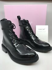 Inch2 Wingtip Womens Ankle Boots Size EU 39 US 8 Black Italian Leather NEW