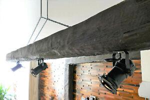Suspended Wood Beam lights, Faux, Oak Wood Pendant, Ceiling Light Fixture