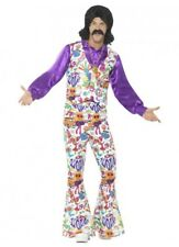 Mens Ladies 60s 70s Hippie Fancy Dress Adult Groovy Hippy Retro Peace Costume