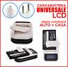 ✔ CARICATORE UNIVERSALE LCD CASA AUTO USB CARICABATTERIE BATTERIE LITIO VIAGGIO