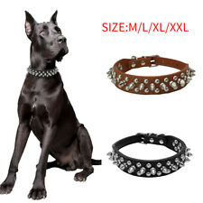 PU Leather Dog Collar Adjustable Studded Rivet Collars Pet Dogs Puppy Neck Strap