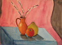 Vintage fauvist watercolor painting still life with flowers and fruits