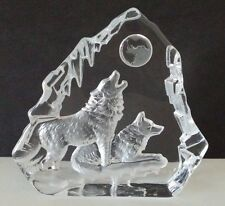 Etched Glass Wolf / Wolves Paperweight