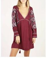Free People All My Life Mini Dress Embroidered Maroon Size M $148 New