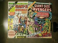 THE AVENGERS Giant Size 2 Book Lot~ #1,2 VF-FINE (1974) Marvel comics