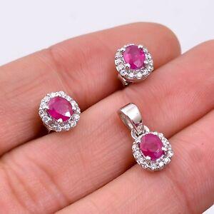 Natural Ruby 925 Sterling Silver Women Stud Earrings & Pendant Jewelry Set