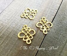 4 Chandelier Earring Findings Shiny Gold Tone Knot Pendants Drops