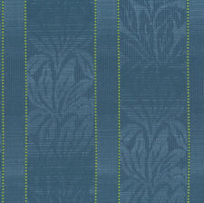 Barbados Ocean Blue Leaf Stripe Crypton Upholstery Fabric 0405379