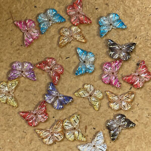 20pcs Butterfly 15x10mm Hole Resin Gold flatback sewing Scrapbook phone #2036