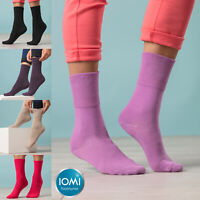 IOMI - Ladies 6 Pack Thin Extra Wide Loose Top Non Elastic Cotton Diabetic Socks