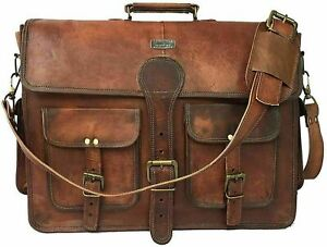 Vintage Men Messenger Shoulder Satchel School S Briefcase Bag Leather Attache