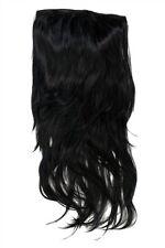 Clip-In Haarteil 7 Klammern Halbperücke Haarverlängerung Schwarz 60 cm H9505-1