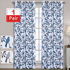 Curtains Drapes Pair for Living Room Birds Pattern Curtains Blockout Eyelet