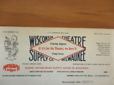 Letterhead Wisconsin Theatre Supply spot lamp Chicago stage lighting 12/6/1919