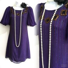MONSOON Purple Embellished 20's Flapper Gatsby Party Evening Tunic Dress 8 36