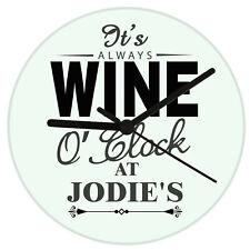 Personalised Wine O'Clock Glass Clock Great Birthday Gift Idea Any Name