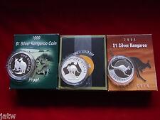 AUSTRALIA. 1999,2000 & 2004  Silver Kangaroos.. 3 x 1oz Coins.. Proof