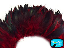 4 Inch Strip - RED Dyed Half Bronze Strung Rooster Schlappen Feathers