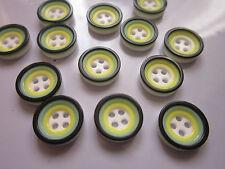 50 x Doble Capa Botones 4 Orificios Resina Plano Redondo,amarillo verdoso, 12 mm