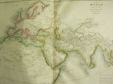 1821 LARGE MAP THE WORLD ACCORDING TO THE ANCIENTS HAND COLOURED  23 x 19 inches