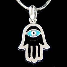 Jewish ~Hamsa Hand Fatima Turquoise Blue Evil Eye~ Charm Pendant Necklace Unisex