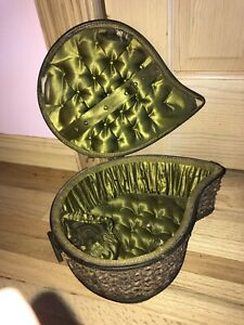 Antique Victorian 19th Century German Woven Wood Tuft Silk Sewing Basket RARE!!