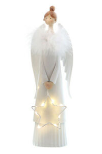 Engel mit LED Stern und Federkragen | Dekofigur 29,5 cm | Zierfigur Metall Figur