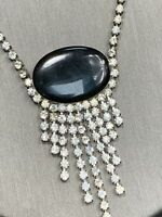 "Vintage Silver And Black Rhinestone Drop Pendant Necklace 16 "" Hook Clasp"