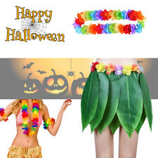 Hawaiian Hula Girl Grass Leaf Skirt With Lei Garland Fancy Dress Costume Outfit