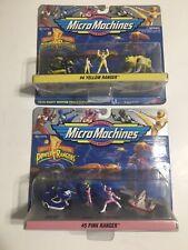 Micro Machines Power Rangers #4 & #5 Yellow + Pink Ranger Sets Galoob Vtg 1994