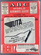 ABC WORLD AIRWAYS GUIDE NOVEMBER 1965 TIMETABLE UTA BOAC THY AIR CEYLON INDIA