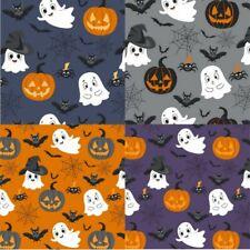 100% Cotton Poplin Fabric Happy Ghosts Pumpkin Bats Spiders Halloween 145cm Wide