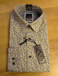 J T Ascott Mens Blue and Gold Spanner Design 100% Cotton Shirt Modern Fit New