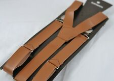 Men Adult 25mm Wide Tan Brown Faux Leather Adjustable Design Suspenders Braces