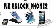 2' x 4' VINYL BANNER WE UNLOCK PHONES CELL PHONES UN LOCK