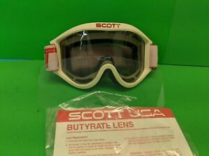 Vintage White Scott Goggles with Extra Official Scott Lexan Lens