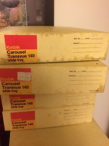 Kodak Carousel Transvue 140 Slide Trays in Original Boxes kodachrome LOT of 4