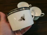 Kate Spade Lenox Crescent Drive Bee Set Of 3 Mugs Gold Silver Black