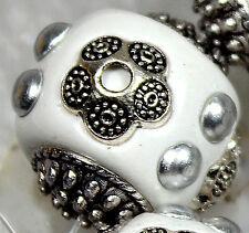 18mm White Ceramic Porcelain Round Loose Beads 6pcs