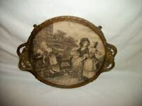 ANTIQUE FRENCH BRONZE ORMOLU VANITY TRAY SEPIA PRINT PERFUME TABLE FRAME 1800's